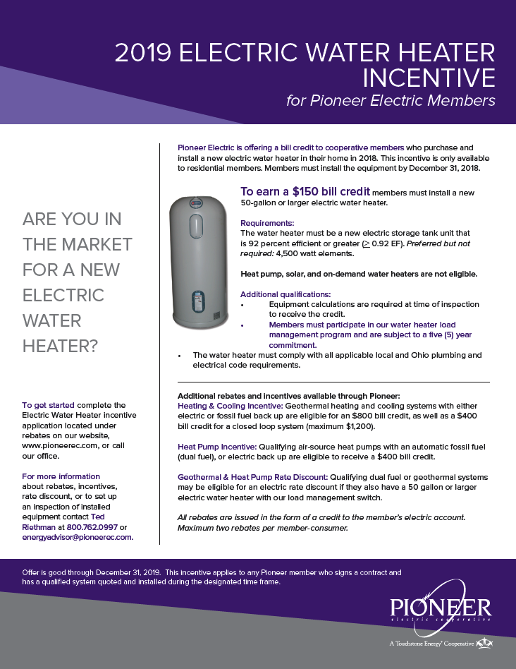 2019 Water Heater Incentive Flyer